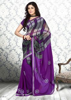 Black & Purple #Onlyokay Printed #Sarees  Black & Purple ,printed fashion saree, has contrast print detail along the borders Comes with a blouse piece.Length: 5.5 metres plus 0.80 metre blouse piece available in 51% Discount @aimdeals