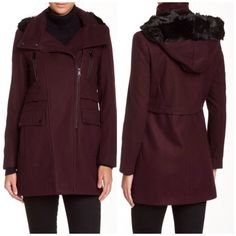 Andrew Marc Burgundy Coat with Faux Fur Hood So gorgeous and perfect for the cold! Brand new with tags and never worn. Size 12 but fits like a 10. No trades!! 1031545nro Andrew Marc Jackets & Coats Pea Coats