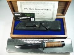 SOG Knives Seki Japan S1C Commemorative 20th Anniversary Bowie With Walnut SOG Presentation Box And Certificate Of Authenticity