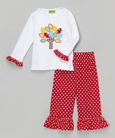 Another great find on #zulily! White Fall Tree Tee & Red Pants - Infant, Toddler & Girls by Stellybelly #zulilyfinds