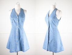 Denim Babydoll Dress, Vintage 90s Dress, Denim Dress, Mini Dress, Soft Grunge Clothing, Light Blue Denim Dress, Faded Denim, Blue Jean Dress