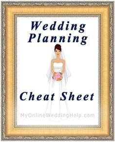 Wedding Planning Cheat Sheet | #MyOnlineWeddingHelp MyOnlineWeddingHelp.com