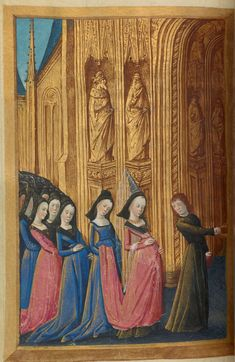 Psalm 138 (Vulg., 137): Anne of France (?) leads crowd of young women | Book of Hours | France, Bourges | ca. 1473 | The Morgan Library & Museum