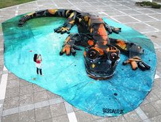 bordalo II sculpts salamander with whole cars and mechanical mixed media