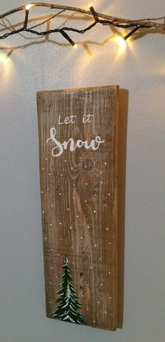 "Christmas Xmas sign ""Let it snow"" reclaimed wood sign ready to post. Handmade and hand painted by TheLittleDustyShed on Etsy"