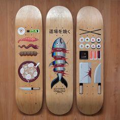 Food Themed Skateboards, Skateboards sushi graphics
