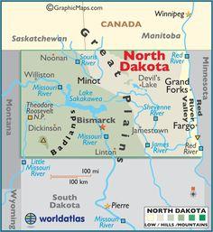 North Dakota State Map Postcard North Dakota States And - Us map north dakota