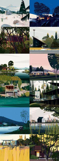 Cruchiform, un studio français fondé par Marie-laure Cruschi, a créé les 60 illustrations de cabanes d'architectes qui ouvrent les chapitres d'un livre de Philip Jodidio chez Taschen qui présente le meilleur des cabanes du monde.