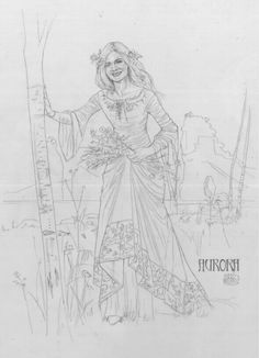 sketches for elle fanning costums in malificent