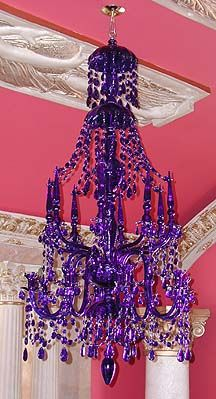 Purple - Hand Blown Glass Chandelier Iris, this is for you. Purple Love, All Things Purple, Purple Rain, Shades Of Purple, Purple Stuff, Purple Glass, Purple Chandelier, Blown Glass Chandelier, Josie Loves