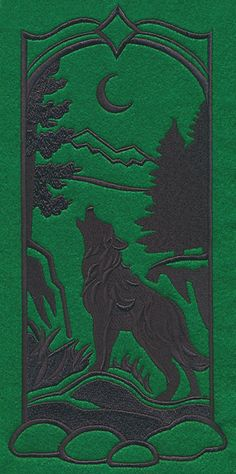 Wild Woods Silhouette - Wolf design (M7667) from www.Emblibrary.com