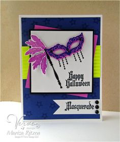 Handmade card by Marisa Ritzen using the Masquerade set and Mask Die Set from Verve.  #vervestamps