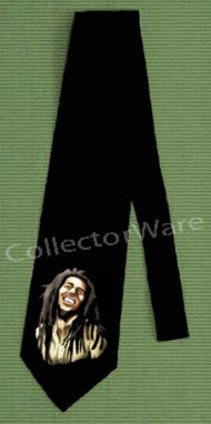 BOB MARLEY drawing 2 CUSTOM ART UNIQUE TIE   Each necktie is individually hand-painted, a true and unique work of art indeed!  To order this, or design your own custom tie, please contact us at info@collectorware.com, or visit http://www.collectorware.com/neckties-bobmarley_andrelated.htm