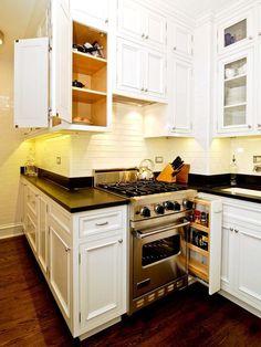 A Painter's DIY Small Condo Design : Decorating : Home & Garden Television One Wall Kitchen, White Kitchen Cabinets, New Kitchen, Kitchen Wrap, Corner Cabinets, Condo Kitchen, Kitchen Storage, Kitchen Ideas, Small Condo