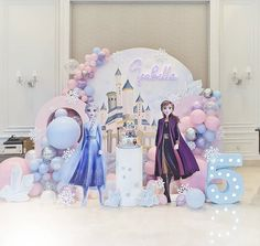 2nd Birthday Party For Girl, Frozen Themed Birthday Party, Disney Frozen Birthday, Birthday Party Themes, Frozen Birthday Decorations, Balloon Decorations Party, Frozen Party Cake, Princess Tea Party, Rose