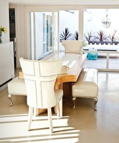 Miami Condo, I want to attend a dinner party here! Nailhead dining chairs, warm whites and cremes, large windows and clean lines. by Pinky and the Brain Cute Dorm Rooms, Dining Room Design, Cheap Home Decor, Decoration, Modern Decor, Room Inspiration, Family Room, Interior Design, Bed