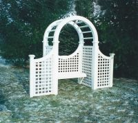 Symmetrical Wooden Garden Arbor with Bench. Made out of Western Red Cedar.