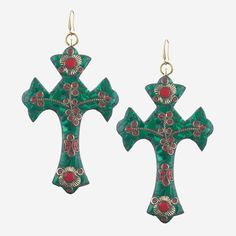 VALENTINA Oversize Mosaic Cross Earrings