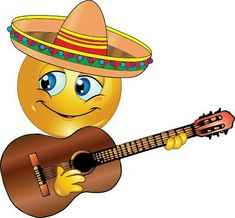 This smiley will be singing at the fiesta, but you don't have to wait for Cinco de Mayo to share him on your timeline. Funny Emoticons, Funny Emoji, Smiley Emoji, Cute Images For Dp, Funny Images, Naughty Emoji, Emoticon Faces, Smiley Happy, Emoji Symbols