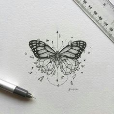 inspirational butterfly tattoo drawings, geometric tattoos, butterfly tattoo ideas for inspiration A Art Drawings Sketches, Tattoo Drawings, Tattoo Sketches, Tattoo Ink, Tattoo Baby, Owl Drawings, Moth Tattoo, Armband Tattoo, Unique Drawings