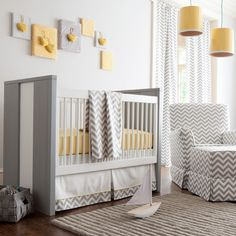 Chevron Pattern Crib Sets and Baby Room Decor - yellow and gray
