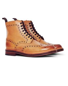 Grenson Fred Leather Brogue Boot Tan - BLACK FRIDAY SALES CONTINUE!!!!