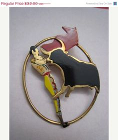 Vintage Art Deco Gold Plated Red Black Yellow Enamel by Glamaroni, $25.60