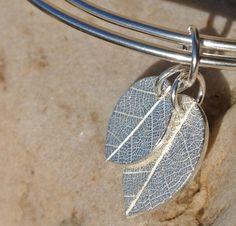 Silver leaf charm bangle £48.00
