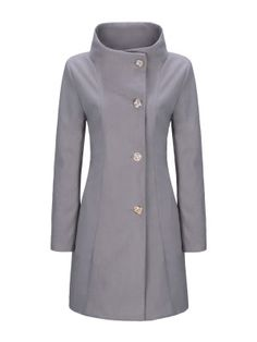 High Neck Single Breasted Plain Woolen Coat