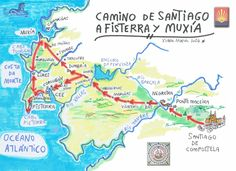 Xurde Morán: Mapa del Camino de Santiago a Fisterra y Muxia