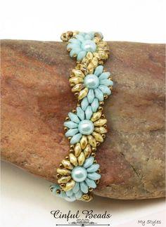 Superduo Daisy Chain Beaded Bracelet-Seafoam and Beige Picasso Superduos-Flower Bracelet-Spiral Bracelet-Boho Beaded Beaded Bracelet Patterns, Beading Patterns, Beaded Bracelets, Embroidery Bracelets, Peyote Bracelet, Loom Patterns, Diamond Bracelets, Beading Tutorials, Bracelet Designs