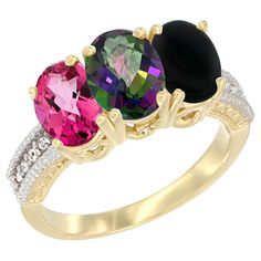 10K Yellow Gold Natural Pink Topaz, Mystic Topaz and Black Onyx Ring 3-Stone Oval 7x5 mm Diamond Accent, sizes 5 - 10 * Trust me, this is great! Click the image. : Jewelry Ring Bands