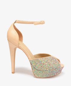 Glittered Peep Toe Heels #partyperfect