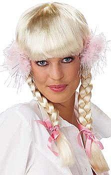 Ladies Sexy Long Blonde Plaited Britney School Girl Fancy Dress Costume Wig   d07457d3ed24