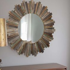 Add some vintage charm to your home with the Rustic Starburst Wall Mirror. Made from weathered and distressed wood, in an off-set pattern that creates a visually compelling design, this beauty is a breeze to hang and stunning to look at. Starburst Mirror Wall, Beautiful Wood, Wooden Wall Design, How To Distress Wood, Sunburst Mirror, Accent Mirrors, Home Decor Mirrors, Starburst, Sunburst