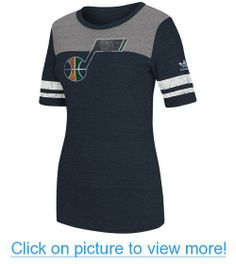 NBA adidas Utah Jazz Womens Original Big Logo Tri-Blend T-Shirt - Navy Blue