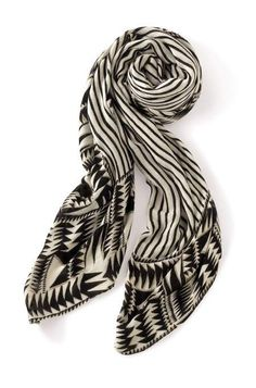Black and Cream Tribal Geo Union Square Scarf for Women