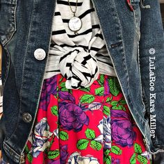 LuLaRoe striped Irma Tunic with floral Madison skirt with denim Levi jacket and black leggings for spring fashion trends, print and pattern mixing and style inspiration.  Shop here: https://m.facebook.com/groups/lularoekaramiller/