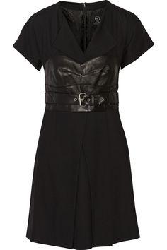 MCQ ALEXANDER MCQUEEN Belted Leather-Paneled Woven Dress. #mcqalexandermcqueen #cloth #dress