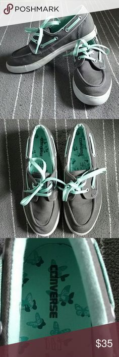 Converse boat shoes *Read description for sizing Lightly worn converse boat shoes. They are super cute. They say they are a size six. They are gray and a minty/sea foam green for the laces. The laces are also glittery. Converse usually go by men sizing so they are marked size 6. They fit like a women's 8.5. Converse Shoes Flats & Loafers