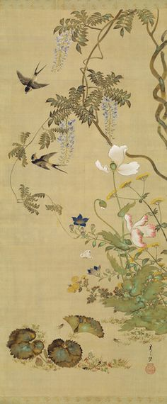 Suzuki Kiitsu(鈴木其一 Japanese, Suzuki Kiitsu(鈴木其一 Japanese, Birds and flowers 1855 hanging scroll; colour on silk Birds and flowers 1855 hanging scroll; colour on silk Japan Painting, Ink Painting, Art Floral, Chinese Painting, Chinese Art, Art Chinois, Art Asiatique, Art Japonais, Japanese Flowers