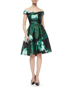 Off-The-Shoulder Floral Ikat Fit-And-Flare Dress by Lela Rose at Bergdorf Goodman.
