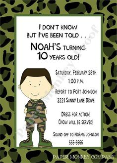 camo boy bday invites | Camouflage Military or Army Birthday by PaperMonkeyCompany on Etsy