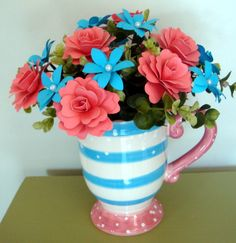 Valentines Day Paper Flower Arrangement by SweetPeasPaperFlower, $30.00