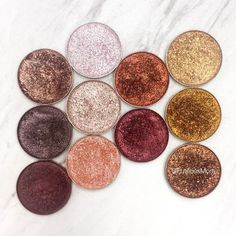 Warm toned foiled eyeshadows by Makeup Geek cosmetics - Pictures and Swatches