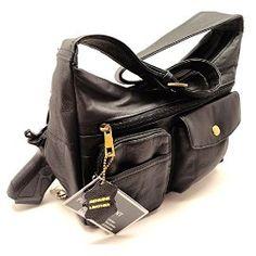 Roma Leathers 7093 Black Genuine Leather Locking Concealed Purse