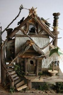 Fairy-house. This pretty much settles it. I absolutely, positively MUST build one like this and put it outside for our fairies. Especially when all you need is sticks, bark, a few other nature-found sources, glue, and some imagination!