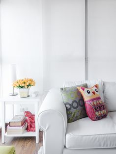 Working with white helped the owner achieve her dream space Condo Interior Design, Condo Design, House Design, Sofa, Couch, House Tours, Projects To Try, Space, Furniture