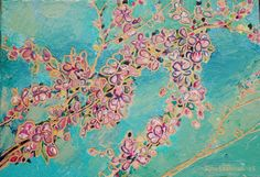 Cherry blossom, acrylic painting and woodcut into MDF. My Works, Cherry Blossom, Paintings, Map, Paint, Painting Art, Location Map, Maps, Painting