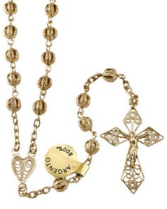Gold over Sterling Silver Filigree #beads #Rosary with Gold over Sterling #Silver links, a Filigree Heart center and a Gold over Sterling Silver Filigree Crucifix. Made in #Italy.(SKU 4-1502)